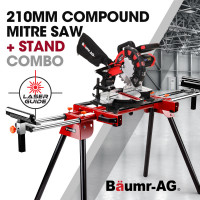 BAUMR-AG 210mm Mitre Compound Saw with Laser Guide Plus Stand Combo