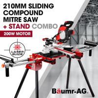 BAUMR-AG 210mm 2000W Sliding Mitre Compound Saw with Laser Guide Plus Stand Combo