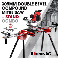 BAUMR-AG 305mm Double Bevel Sliding Mitre Compound Saw with Laser Guide Plus Stand Combo
