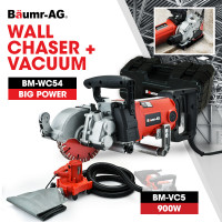 BAUMR-AG 2000W 125mm Wall Chaser and 900W Vacuum Dust Collector Combo, with 4 Diamond Blades