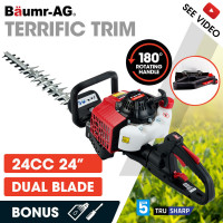 BAUMR-AG 24cc 2-Stroke Petrol Hedge Trimmer, TruSharp Blade, Swivel Handle