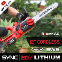 """PRE-ORDER Baumr-AG SW5 20V SYNC 12"""" Cordless Electric Chainsaw with Battery And Fast Charger Kit"""