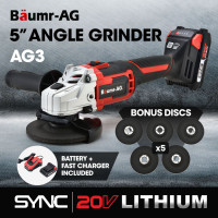 BAUMR-AG 20V SYNC Cordless Angle Grinder Kit with Battery, Fast Charger, 5 x Discs