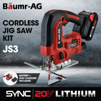 BAUMR-AG JS3 20V SYNC Cordless Jigsaw Kit Tool with Battery and Fast Charger