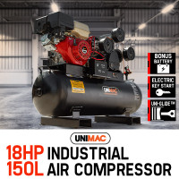 PRE-ORDER UNIMAC Industrial Petrol Air Compressor 115PSI 150L 18HP