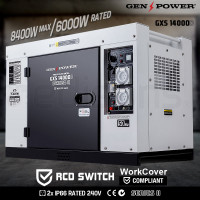 GENPOWER 8.4kW Max 6kW Rated Diesel Generator Single Phase Commercial RCD