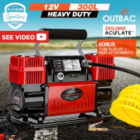OUTBAC Portable Air Compressor 100PSI 12V 300L Tyre Deflator - OTB700