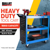 BULLET 3-Tier Steel Tool Trolley Cart Workshop, with Pegboard, Screwdriver Bay, Ruler, Black and Blue