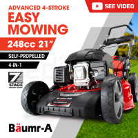 """BAUMR-AG 21"""" 248cc Self-Propelled Push Button Electric Start 4in1 Lawnmower - 890SXe"""