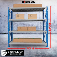 1.5 x 2M 1000KG Metal Warehouse Racking Storage Garage Shelving Steel Shelf 4 Tier