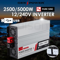 GENPOWER Pure Sine Wave 2500W/5000W 12V/240V Power Inverter Caravan Boat CarPlug