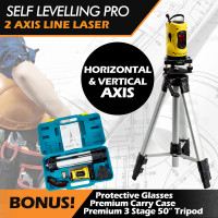 Baumr-AG Pro Self Levelling Rotary Laser Level Dual Axis w/ Tripod & Hard Case
