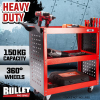 3-Tier Storage Metal Rolling Steel Trolley Cart