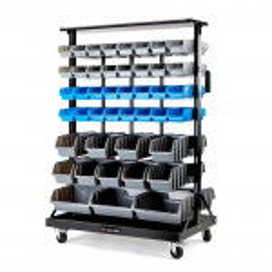 88 BIN Storage Shelving Tools Parts Rack Shelf Garage Workshop Wheels 7 Tier