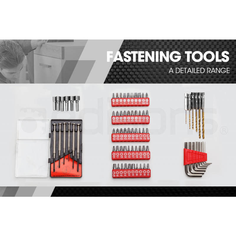 BULLET 118pc Metal Cantilever Tool Kit Box Set with Cordless Screwdriver, Red by Bullet Pro