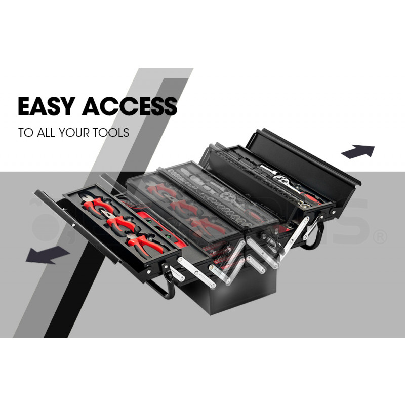 BULLET 118pc Metal Cantilever Tool Kit Box Set with Cordless Screwdriver, Black by Bullet Pro