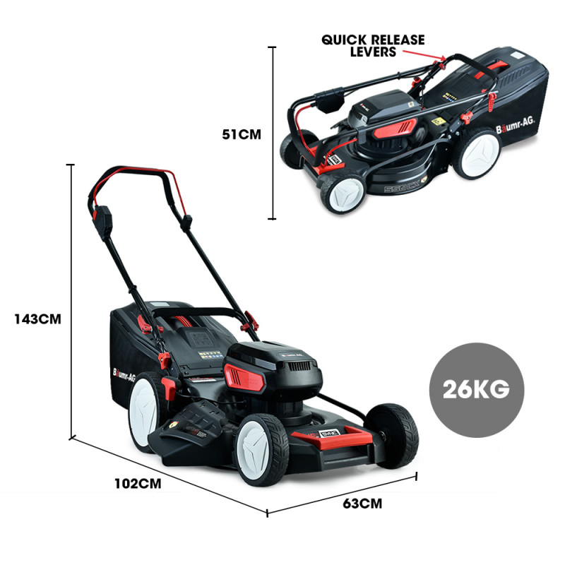 """BAUMR-AG 550CX 40V SYNC 19"""" Cordless Lawn Mower Kit, Fast Charger and 2x Batteries by Baumr-AG"""
