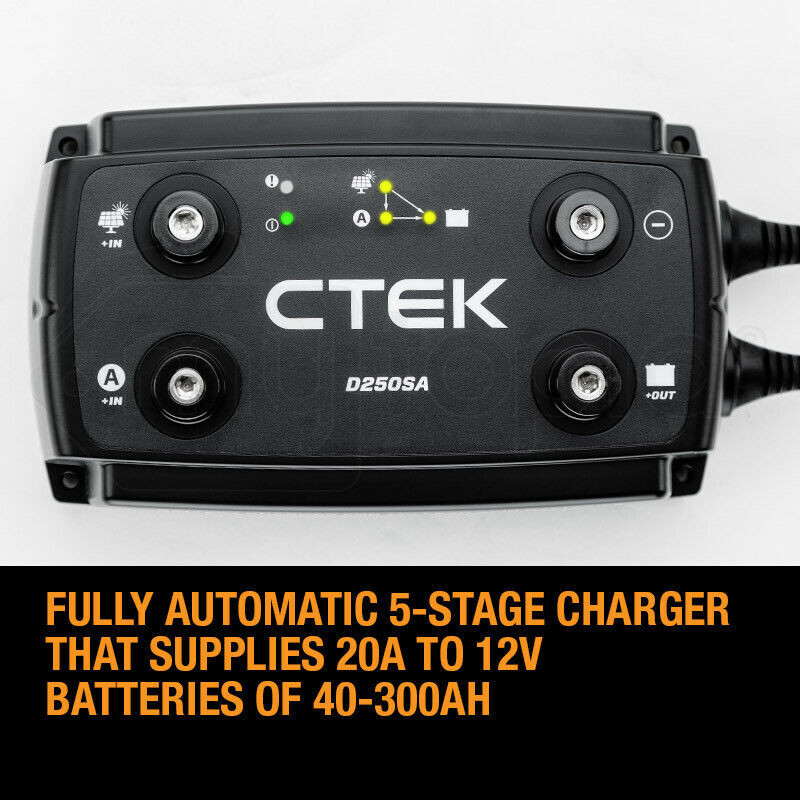 CTEK 140A Off Road DC/DC Charger System Combo with D250SA + Smartpass 120S + Battery Monitor by CTEK
