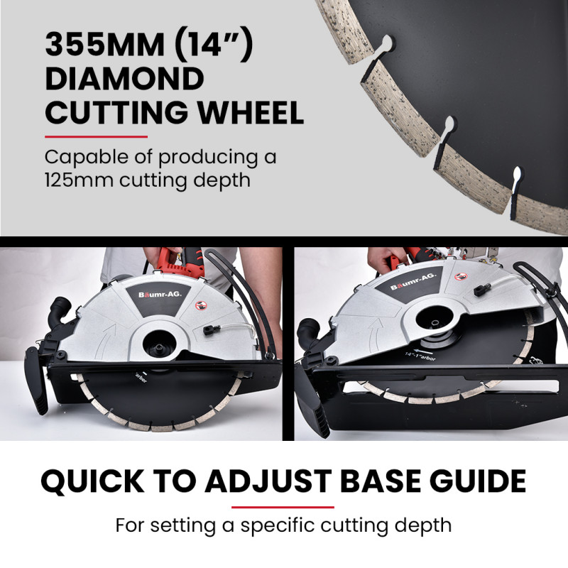 BAUMR-AG 355mm Electric Circular Concrete Saw Wet/Dry, with Diamond Blade by Baumr-AG