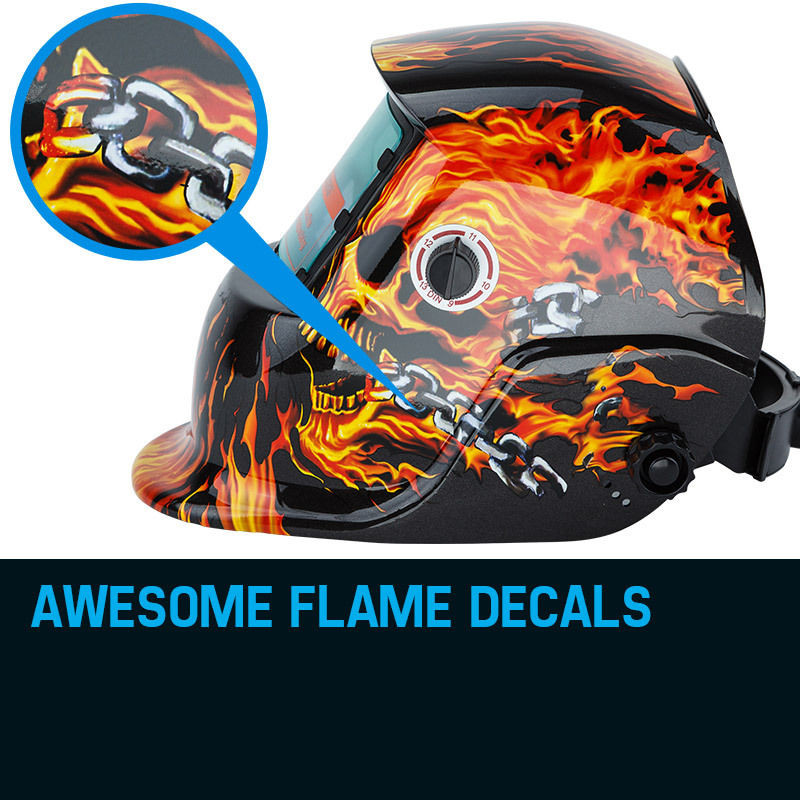 ROSSI Burning Skull Solar Auto Darkening Welding Helmet Mask MIG/ARC/TIG Welder Machine by Rossi