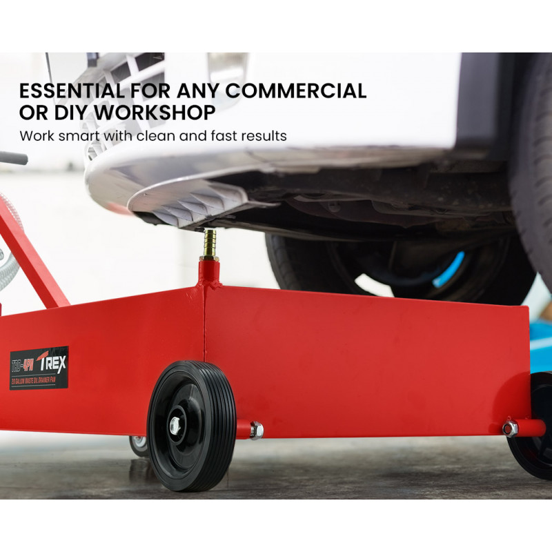 TREX 76L Low Profile Mobile Waste Oil Drainer, with Hand Discharge Pump, for Trucks, Workshop by T-Rex