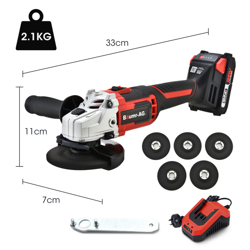 BAUMR-AG 20V SYNC Cordless Angle Grinder Kit with Battery, Fast Charger, 5 x Discs by Baumr-AG