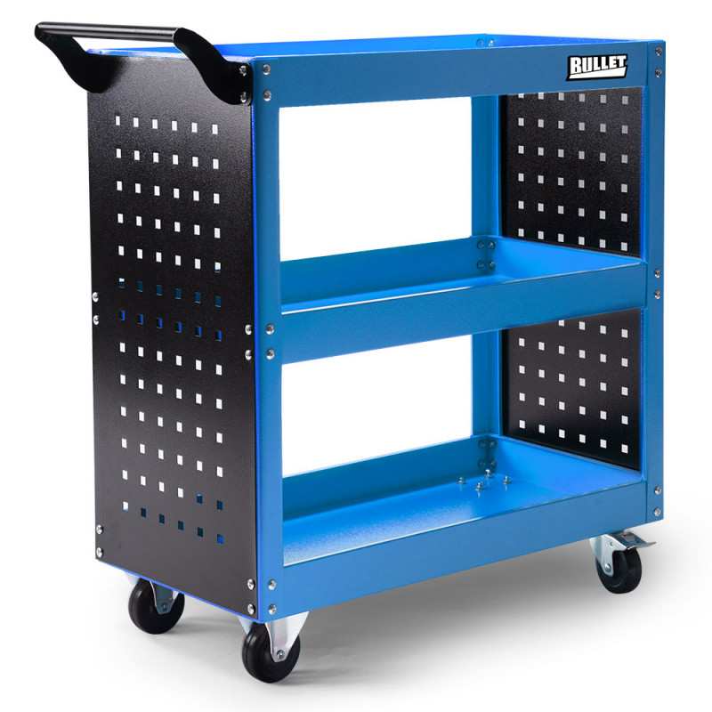 BULLET 3-Tier Steel Tool Trolley Cart Workshop, with Pegboard, Screwdriver Bay, Ruler, Black and Blue by Bullet Pro