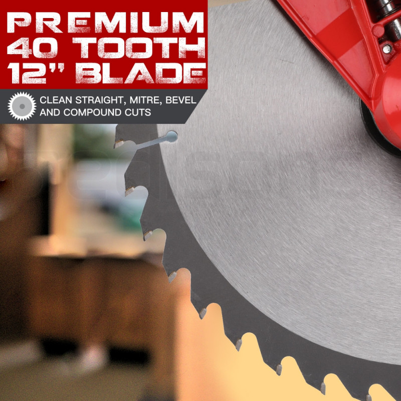 Baumr-AG 305mm Sliding Compound Mitre Saw - Double Bevel Electric Bench Drop Saw by Baumr-AG