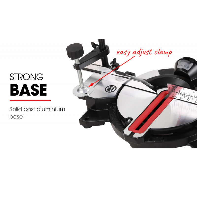 BAUMR-AG 210mm 2000W Sliding Mitre Compound Saw with Laser Guide Plus Stand Combo by Baumr-AG