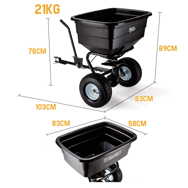 PLANTCRAFT Tow Behind Broadcast Spreader 90kg 105L Seed Fertiliser Tow Rotary by PlantCraft