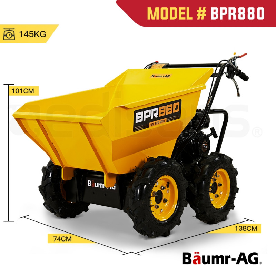 Baumr-AG Power Wheelbarrow Motorized Mini Petrol Powered Wheel Barrow Self Dump by Baumr-AG