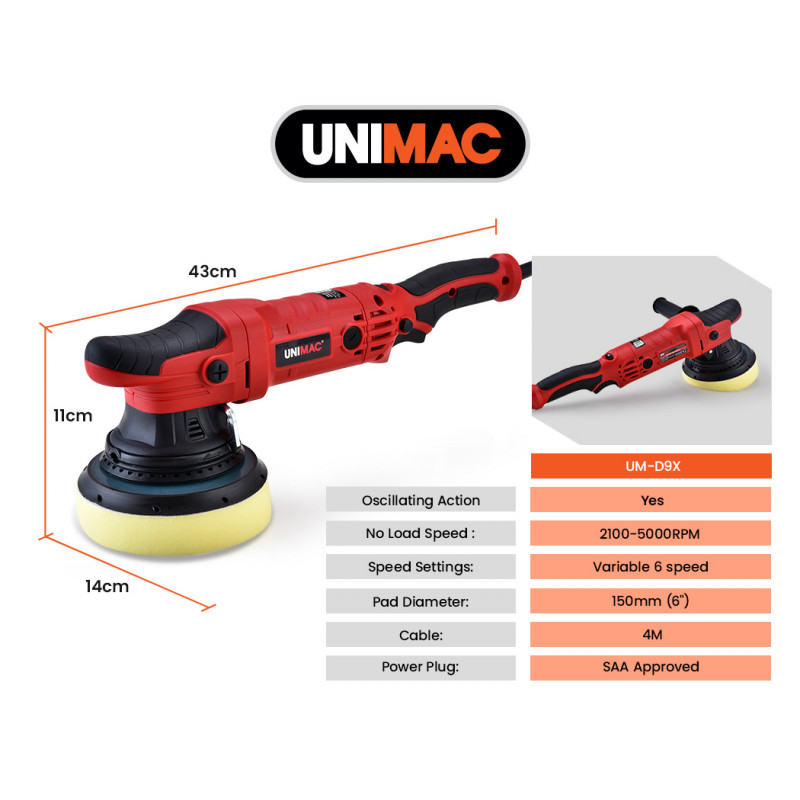 UNIMAC Dual Action Electric Polisher, Variable Speed, Pad Kit, Carry Case by Unimac