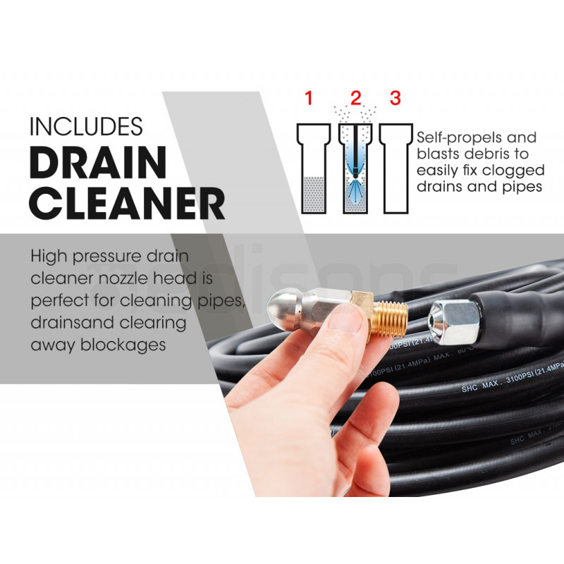 JET-USA Petrol-Powered High Pressure Cleaner Washer w/ 30m Hose and Drain Cleaner - CX660 by Jet-USA