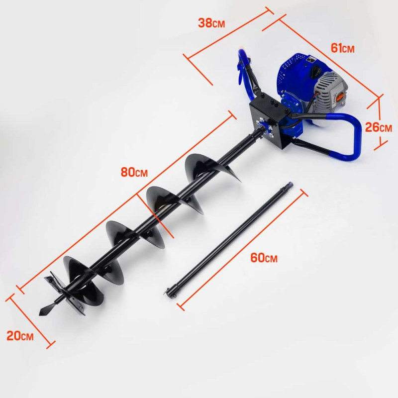 POWERBLADE Post Hole Digger 62CC Posthole Earth Auger Fence Borer Petrol Drill by PowerBlade