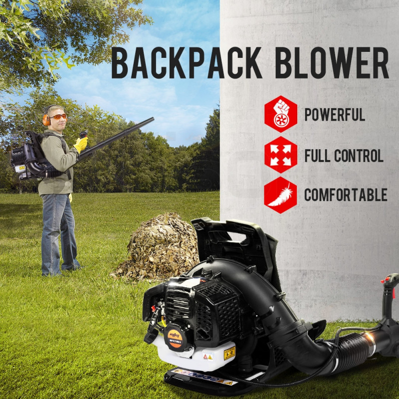 MTM 65CC Petrol Backpack Leaf Blower - Commercial 2 Stroke Garden Yard Tool Back by MTM