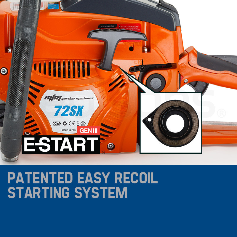 "MTM 22"" Bar E-Start Sytem Commercial Petrol Chainsaw- 72SX by MTM"