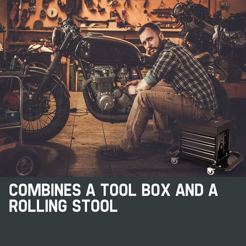 BULLET Rolling Tool Box Stool Mechanic Creeper Toolbox Seat Cushion Garage Tray by Bullet Pro