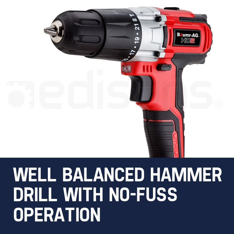 Baumr-AG 20V Lithium Cordless Hammer Drill Electric Masonry Drilling Tool by Baumr-AG