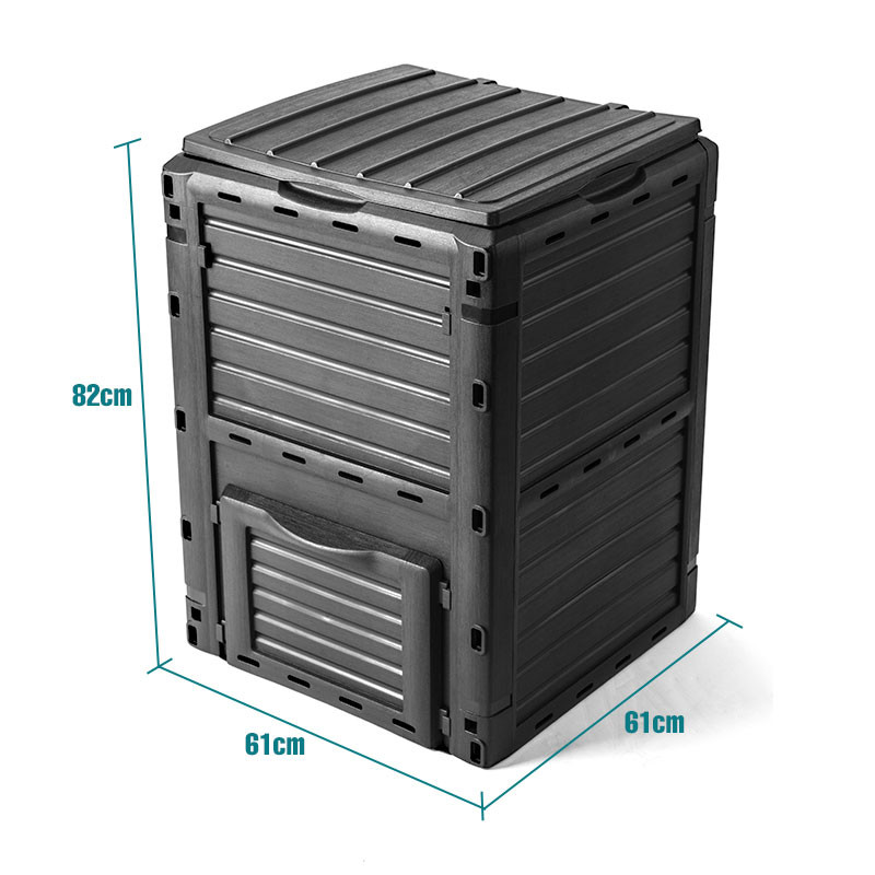 PLANTCRAFT 290L Aerated Compost Bin Grey - Food Waste Garden Recycling Composter by PlantCraft