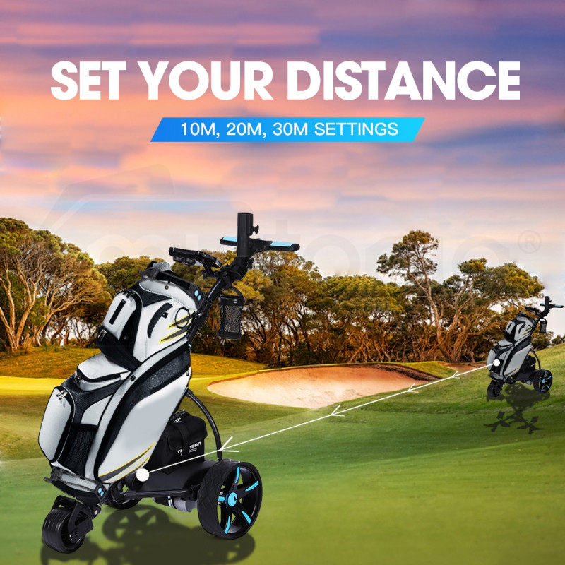 THOMSON Golf Buggy Electric Trolley Automatic Motorised Foldable Cart LED Black by Thomson