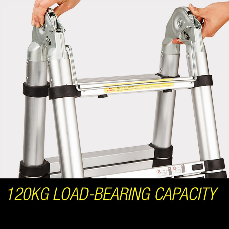 3.8m Multipurpose Telescopic Folding Ladder Aluminium Alloy Extension Steps AU by Bullet Pro