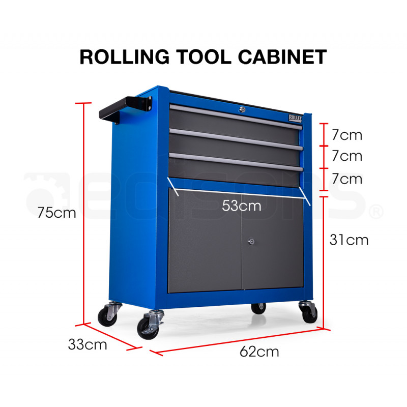 BULLET Steel Rolling Tool Chest Cabinet, with Tubular Cam Locks, Lockable Castors, Pegboard, Blue by Bullet Pro