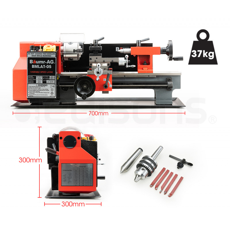 """BAUMR-AG 400W 7""""x12"""" Variable-Speed Mini Metal Lathe with Cutting Tool Set, Drill Chuck by Baumr-AG"""