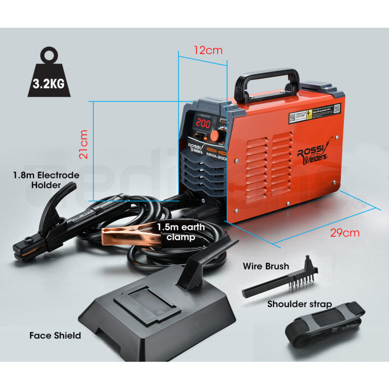 ROSSI 200 Amp Portable Inverter Arc Stick Welder by Rossi