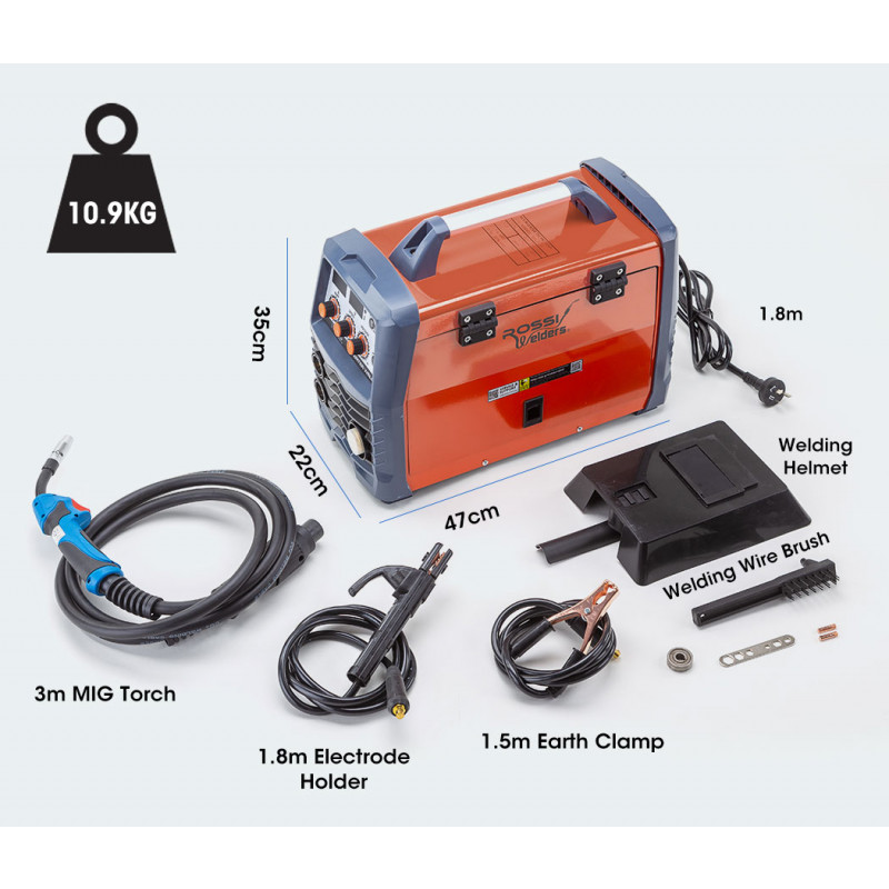 ROSSI 300 Amp Welder MIG Stick DC Portable Gas Gasless Inverter by Rossi