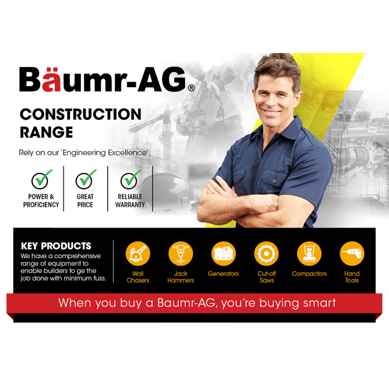 BAUMR-AG 125mm Wall Chaser with Dual Handles, Wet Cutting System, 4 Diamond Blades, Adjustable Depth by Baumr-AG