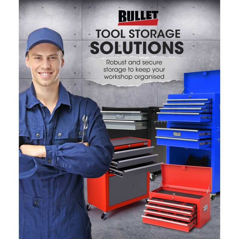 BULLET Steel Rolling Tool Chest Cabinet, with Tubular Cam Locks, Lockable Castors, Pegboard, Red by Bullet Pro