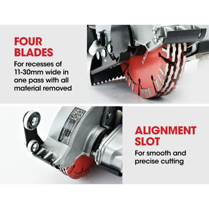 BAUMR-AG 125mm Wall Chaser with Dual Handles, Wet Cutting System, 4 Diamond Blades by Baumr-AG