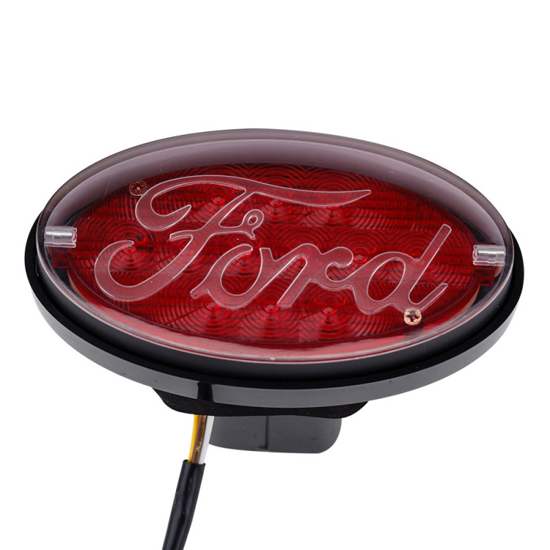 JAXSYN Novelty Tow-bar / Trailer Hitch Cover - Red Oval Ford logo Brake light by