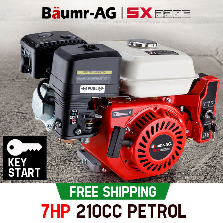 7HP Petrol Engine Stationary Motor OHV Horizontal Shaft Electric Start 4-stroke by Baumr-AG